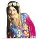 Perruque hippie femme brune avec bandeau