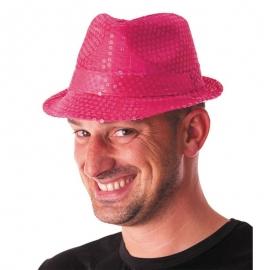 Chapeau funk paillettes néon rose