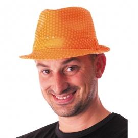 Chapeau funk paillettes néon orange