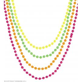 Set de 4 colliers perles néon