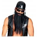 Barbe longue avec moustache noir