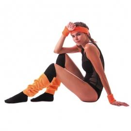 Set bandeau et poignets éponge  fluo orange