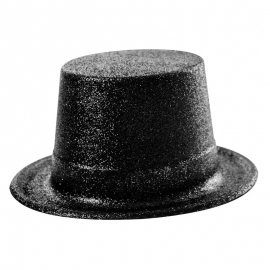 Chapeau haut de forme PVC paillettes noir