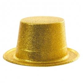 Chapeau haut de forme PVC paillettes or