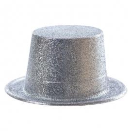 Chapeau haut de forme PVC paillettes argent