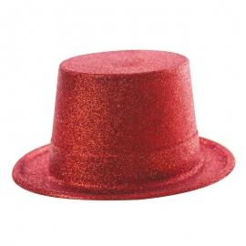 Chapeau haut de forme PVC paillettes rouge