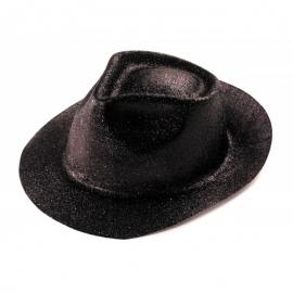 Chapeau borsalino PVC paillettes noir