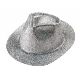 Chapeau borsalino PVC paillettes argent