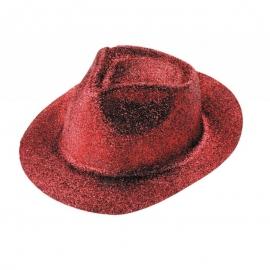 Chapeau borsalino PVC paillettes rouge