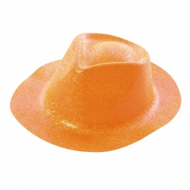 Chapeau borsalino PVC paillettes orange