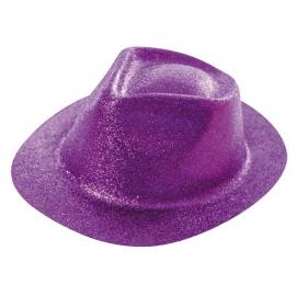 Chapeau borsalino PVC paillettes violet