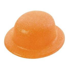 Chapeau melon PVC paillettes orange